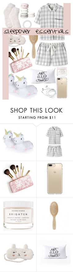 """""""sleepover essentials"""" by m-ade-line ❤ liked on Polyvore featuring Topshop, AERIN, Speck, Herbivore, Meraki, P.J. Salvage, DENY Designs and M&Co"""