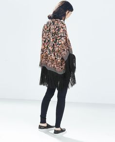 PRINTED JACKET WITH FRINGES from Zara