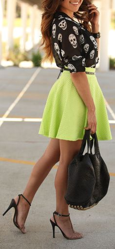 Neon Skirt w/a Skully Blouse & T-Strap Heels // #style #fashion
