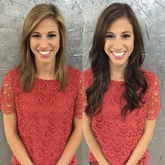 Before and after, brunette, extensions Social Media Outlets, Extensions Hair, Beauty Ideas, Palms, Crochet Top, Hair Beauty, Stylists, Glamour, Color