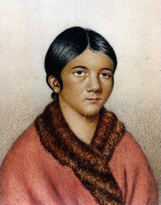 "A miniature portrait titled ""A female Red Indian of Newfoundland"" which some sources date to It is believed to be a portrait of Shanawdithit, the last of the Beothuk. First Nations, Red Indian, Newfoundland And Labrador, Newfoundland Canada, Miniature Portraits, Canadian History, O Canada, Oral History, Native American Indians"