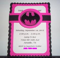 Pink Batman Birthday Invitations. $10.00, via Etsy.