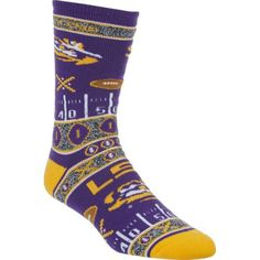 For Bare Feet Men's Louisiana State University Super Fan Crew Socks (Purple, Size One Size) - NCAA Licensed Product, NCAA Novelty at Academy Sports