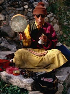 Monk Performing Ritual in Chingdrol Chiling Park, Using Hand-Held Drum and Bell, Lhasa, China