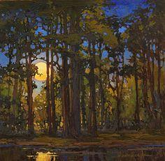 On A Hot Summer Night by Jan Schmuckal Oil ~ 12 x Landscape Art, Landscape Paintings, Nocturne, Witch Art, Tree Art, Art Techniques, Painting Inspiration, Amazing Art, Art Photography