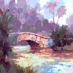 "David Mensing Fine Art - ""Perpetual, Eternal"" - Stone bridge and lilies at Kerr Gardens near Vero Beach, Florida - Oil on canvas Landscape Paintings, Art Photography, Fine Art, Impressionist Art, Pine Tree Painting, Painting, Art, Impressionism Art, Abstract"