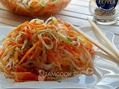 Фунчоза по-корейски Russian Recipes, Light Recipes, Japchae, Bon Appetit, Spaghetti, Yummy Food, Snacks, Cooking, Ethnic Recipes