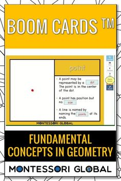 Ideal for distance learning, this PowerPoint Presentation also includes self-correcting Boom Cards and printable 3 part Montessori nomenclature sets that include definition cards. Introduce fundamental concepts in Geometry online or in the classroom.  #montessori #distancelearning #geometry #fundamentalconcepts #PowerPoint #boomcards #nomenclature #definitions #interactive Geometry Online, Montessori Math, Multiplication Facts, Primary School, Math Activities, Definitions, Distance, Presentation, Classroom