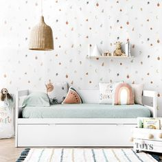 modern girl bedroom decor, minimalist girl room design with storage bed and wallpaper, modern wallpaper in girl bedroom with rattan chandelier, scandinavian girl bedroom Cool Kids Bedrooms, Teen Girl Bedrooms, Deco Studio, Girl Bedroom Designs, Kids Decor, Home Decor, Little Girl Rooms, Kids Furniture, Furniture Stores