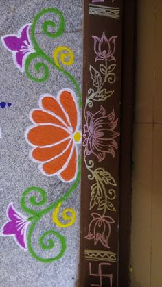 crafted home decor Rangoli Side Designs, Rangoli Designs Simple Diwali, Simple Rangoli Border Designs, Rangoli Designs Latest, Free Hand Rangoli Design, Rangoli Borders, Small Rangoli Design, Rangoli Patterns, Rangoli Designs With Dots