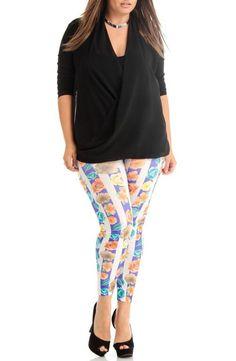 Women's Plus Size Stripe Floral Print Leggings