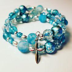 Beautiful Auqamarine birthstone cross bracelet by LMichelleDesigns.