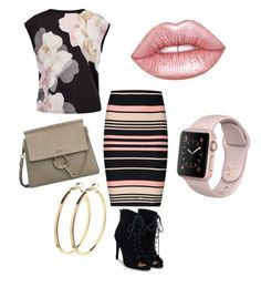 Light pink by nkichar on Polyvore featuring polyvore fashion style Ted Baker Miss Selfridge JustFab Pieces Lime Crime clothing