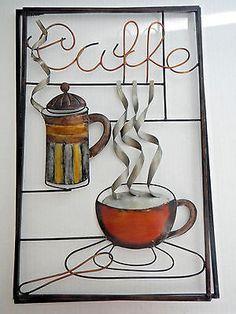 CAFE ART METAL WALL HANGING SIGN CAFFE DECOR BAR COFFEE VINTAGE RETRO 3D LARGE