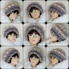 Купить Вязаная женская шапка, шапка зимняя, теплая из шерсти с мохером - комбинированный, шапка