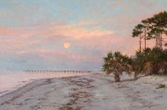 """Sunrise with Moonset by Val Sandell Oil ~ 20"""" x 30"""""""