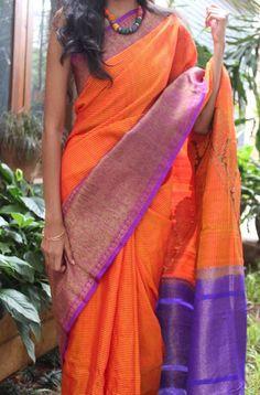 Orange Banaras Silk Saree