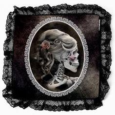 Amazon.com: Unique Gothic Inspired Victorian Style Black Lace Cameo Skull Decorative Pillow Case: Home & Kitchen