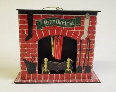 Vintage Cardboard Fireplace w/ Mylar Flames Merry Christmas Putz Ornament