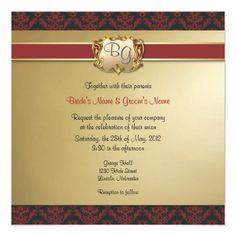 Deep Red & Gold Elegant Wedding Invite - 2: Damask Matching Wedding Invitation Set #Wedding #Invitation #damask