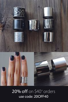 choose a texture / 1.5cm tube ring / wide band ring / adjustable band ring / cuff rings / stainless steel ring / stainless steel jewelry by AshkalShop on Etsy https://www.etsy.com/listing/207189752/choose-a-texture-15cm-tube-ring-wide