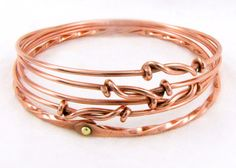 Mixed Metal Bangle Set Five Piece Bracelet Set Knotted by Cuprum29
