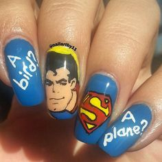 """Just Some Things I Like — @nailartby11 on Instagram: """"#superman nails😊..."""