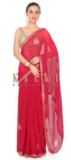 Buy this Rani pink saree enhanced in kundan embroidered butti only on Kalki