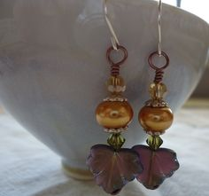Autumn Grape Leaf Earrings  Champagne Pearl by SushiKoDesign, $16.00
