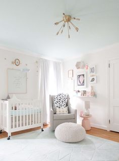 Ellie James' Nursery super cute ideas...framed wall, this little light of mine print, puff