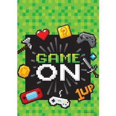 Video Game Favor Bags are covered in green pixels with a black square in the center that reads 'Game On.' The headline is surrounded with video game icons such as coins, controllers, weapons, and Bags Game, Loot Bags, Party Favor Bags, Pochette Surprise, Nintendo, Video Game Party, Video Games, Birthday Games, Birthday Video