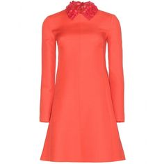 Valentino - Wool and silk-blend crepe dress with leather collar - In fiery coral, Valentino's crepe dress is made from a blend of wool and silk. The short length is balanced by the long sleeves, with an intricate leather collar for a refined finish. A smart investment, we love that the collar is detachable, transforming it from party pierce to professional staple. - @ www.mytheresa.com