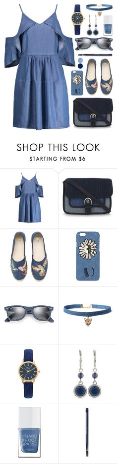"""""""All denim"""" by cly88 ❤ liked on Polyvore featuring W118 by Walter Baker, MICHAEL Michael Kors, RED Valentino, Chiara Ferragni, Ray-Ban, WithChic, Vivani, Nine West, The Hand & Foot Spa and Estée Lauder"""