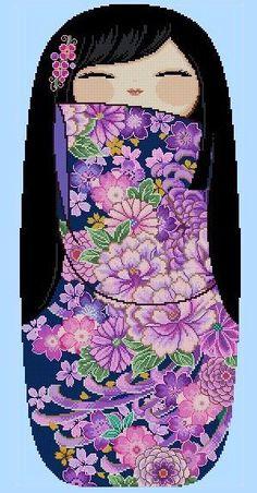 LRG Happy Kokeshi Doll YURIKO Pattern Pdf by by CrossStitchRinna