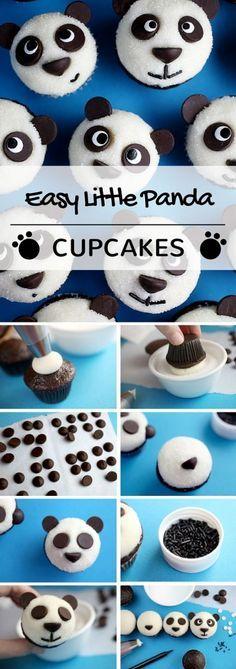 Get the Recipe ♥ Easy Little Panda Cupcakes #recipes