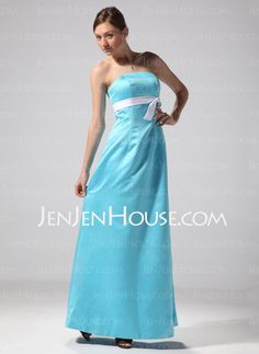 Bridesmaid Dresses - $94.99 - Sheath Strapless Floor-Length Satin Bridesmaid Dresses With Sash (007001822) http://jenjenhouse.com/Sheath-Strapless-Floor-length-Satin-Bridesmaid-Dresses-With-Sash-007001822-g1822