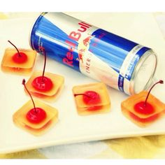 Vodka Red Bull Jello Shots  1 Cup Vodka 1 Cup Red Bull 1/2 Packet Gelatin Cherries with stems #vodka #redbull #jelloshots