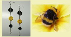 Button earrings - Dangle earrings, Original Fashion Jewelry. Black and Yellow. Just Bee Yourself! link: https://www.etsy.com/ca/listing/187825136/button-earrings-dangle-earrings-original?ref=shop_home_active_21