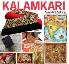 This raw silk clutch with hand-painted 'Kalamkari' border is made by artisans in South India. 'Kalamkari' is a complex labour intensive and time consuming art f. Kalamkari Painting, Ancient Art, Indian Art, Art Forms, Artisan, Textiles, Hand Painted, Paintings, Create