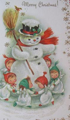 Vintage Snowman Angel Card