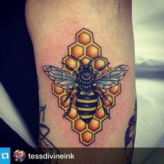 love the combo of bee and honeycomb. colors are lovely too