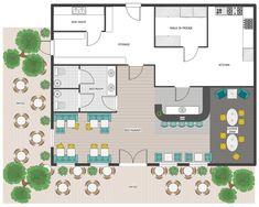 Cafe and Restaurant Floor Plans Floor Planner - Restaurant Outdoor Area, Patio Plan Cafe Floor Plan, Restaurant Floor Plan, Restaurant Layout, Deco Restaurant, Modern Restaurant, Restaurant Ideas, Cafeteria Plan, Cafeteria Design, Cafe Interior Design