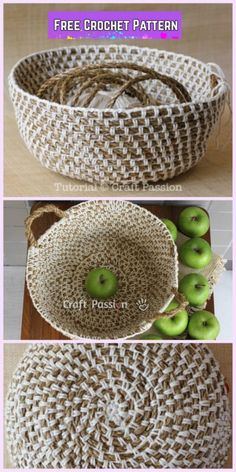 Crochet Hemp Rope Basket Free Pattern Source by nermeenshuqom Crochet Basket Tutorial, Crochet Basket Pattern, Knit Basket, Crochet Beanie Pattern, Rope Basket, Crochet Patterns, Crochet Baskets, Hanging Basket, Crochet Tutorials