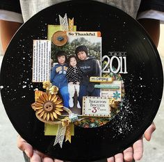 altered vinyl record--use our pictures, wedding date, fabric flowers, etc.
