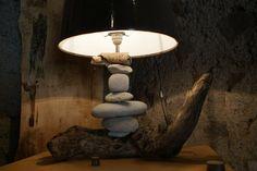 lampe galets#bois flotté#déco