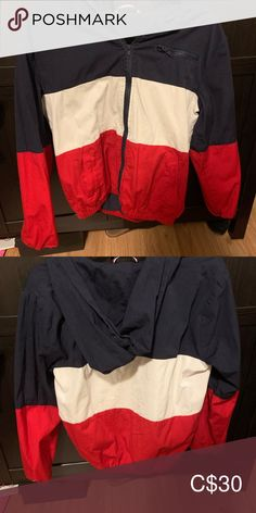 Brandy Melville Windbreaker Jacket Brand new condition, worn once. one size (xs -s/m). Sold out everywhere as far as I know and highly sought after. Brandy Melville Windbreaker, Brandy Melville Jacket, Jacket Brands, Windbreaker Jacket, Cheer Skirts, Red And Blue, Plus Fashion, Fashion Trends, Gym Shorts Womens
