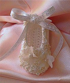 Christening Crochet Baby Booties, Baptism Booties, Bridal Lace,Pearls Booties, Baby Girl Booties