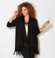 Shop trendy soft knits from our VIP Collection like this plus size Fringe Trim Cardigan available in sizes 14-32 online at avenue.com. Avenue Store