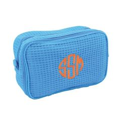"""Waffle Weave Monogrammed Cosmetic Bag - Bath Essentials - BeauJax Boutique Our Waffle Weave Monogrammed Cosmetic Bag is perfect for all of your makeup, toiletry, hair accessory needs! Made of waffle weave fabric lined with plastic, it has a zipper closure and handles on the side with large pocket on the inside. It is definitely a dorm or sorority house """"must have"""" for back to school college life to help keep things nice and organized. www.beaujax.com #bath #gifts"""