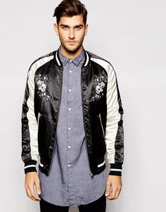 6aa9c4e416b Image 1 of French Connection Bomber Jacket With Skull Embroidery French  Connection, Wearing Black,